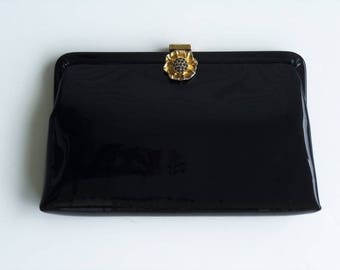 Vintage 60's Clutch Purse Handbag Black Patent Convertible Beaded Flower Clasp