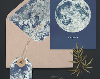 Full Moon Printable A6 Greeting Card Set. Matching DIY Envelope Liner and Gift Tag. Blue Bohemian Style Stationary Set.