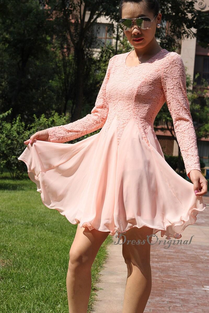 Pink lace dress/Summer Lace dress / Pink Lace Chiffon Dress /