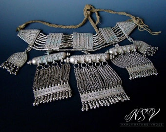Antique Yemeni silver Bedouin lazim necklace signed by silversmith