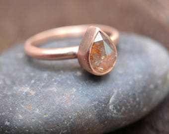 Rose Cut Diamond Engagement Ring | Rose Gold Ring | Pear Cut | Unique Engagement | Pear Diamond | Gift for Her | Wife Gift Anniversary Ring