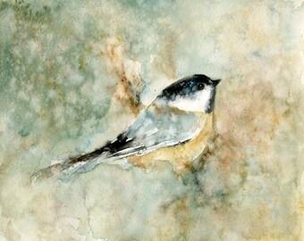 Chickadee Original watercolor painting 10x8inch
