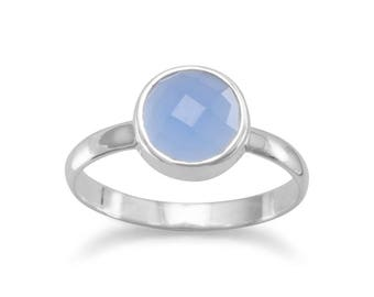Faceted Chalcedony Stackable Ring, Chalcedony Ring, Silver Ring, Blue Chalcedony, Aqua Chalcedony Ring, Gemstone Ring