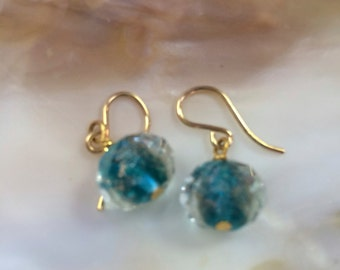 Diane Katzman Blue Lampwork Glass Earrings (ETYE14)