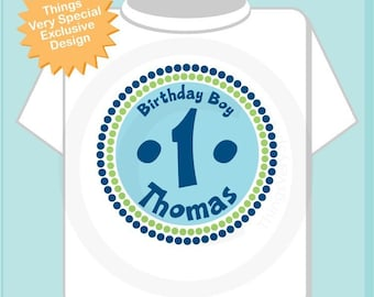 Personalized Birthday Boy Circle Design Tee or Onesie Green and Blue (08302010a)