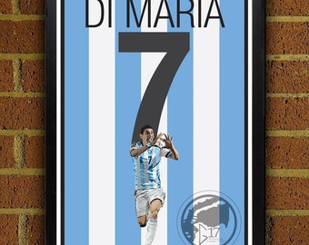 Angel di MarIa 7 Poster - Argentina - Argentina  Soccer Poster- 8x10, 13x19, poster, art, wall decor, home decor, world cup