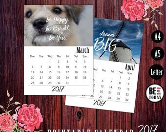 Printable Desk Calendar 2017, Motivational Calendar, Wall Calendar, Calendar Planner 2017, Goals, Inspirational Quotes, Photography Calendar