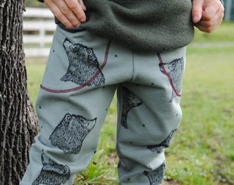 Grow With Me Pants - Bear Joggers - Toddler Joggers - Baby Joggers - Organic Clothing - Boys Sweatpants - Athletic Pants - Jogger Pants