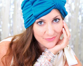 Turban Headwrap with Bow - Fashion Turbans for Women - Full Turban Hairwrap by Mademoiselle Mermaid - Teal Jersey Knit - Lots of Colors