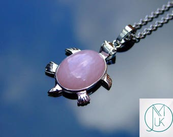 Rose Quartz Turtle Natural Gemstone Pendant Necklace 50cm Chakra Healing Stone With Pouch FREE UK SHIPPING
