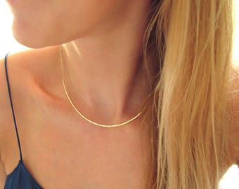 Gold Choker Necklace - Curved Bar Necklace - Silver Curved Arc Necklace - Thin Gold Collar - Rose Gold Fill Choker / XL Scenic Route