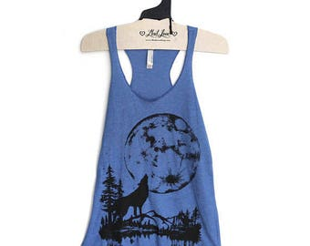 XL - Tri-Blend Blue Racerback Tank with Moon Wolf Screen Print