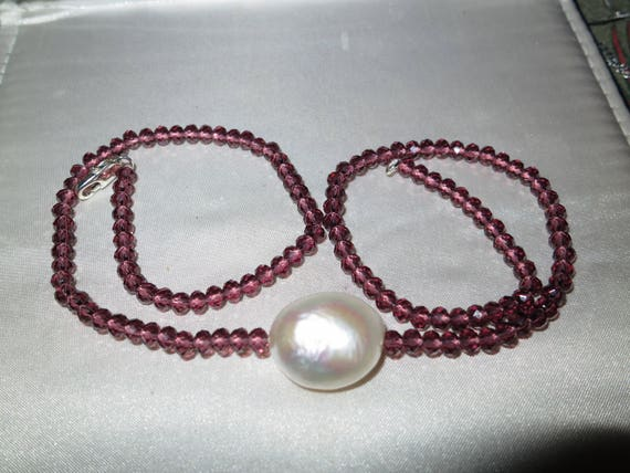 Lovely 4mm cranberry crystal necklace with 20mm Keshi white pearl pendant 18""