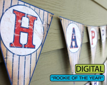 """Vintage Baseball 1st Birthday Banner """"Rookie of the Year"""" Sign"""