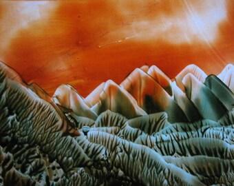 4X6 Forest Green, Burnt Orange Landscape / Encaustic (Wax) Original Painting / Postcard Size Art / Desk Art / SFA (Small Format Art)