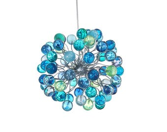Pendant Lighting, bubbles light, blue lights with sea color bubbles for children room, dinning room, kitchen or bedroom.