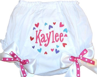 Personalized Baby Girl Diaper Cover, Bloomers Multi Color Hearts Design Double Bows