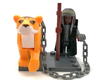 King Ezekiel The Walking Dead Custom Lego Set Minifigure and Tiger