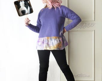 Sweatshirt w/ ruffle, artsy tunic, purple, ice dye, size medium large, cotton/poly, ooak, scoop neck, lagenlook, upcycled, bird applique