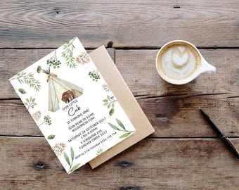 Boys Little Cub Birthday Invitation //Boy First Birthday Invitation // Woodland Invitation// Digital Invitation // Boys 1st birthday invite