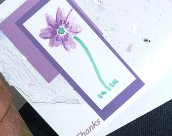 Personalized Note Card Set of 6 cards with Handmade Paper and Hand Painted Flower Design