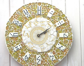Kitchen Clock ~ Mosaic Clock ~ Domino Clock ~ Yellow Clock ~ Recycled Materials ~ Quirky Home Decor ~ Unique Wall Clock ~ Unique Gift