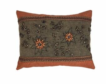 Rust & Denim Pillow with Beads