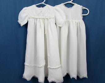 Vintage 30s-40s baby's Christening Dress set - white dress with embroidery & lace - wonderful also for doll re-use