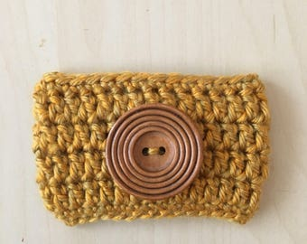 Crocheted Coffee Cozy // Handmade // Wooden Button