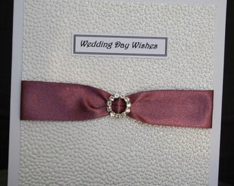 Handmade white pearlescent embossed Wedding card