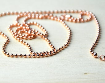 Ball Chain//rose gold necklace//rose gold ball chain//gifts for her//bridesmaid gift//rose gold plated chain - 75cm
