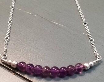 Sterling Silver Amethyst Necklace / Amethyst Necklace / Amethyst Jewelry / Amethyst Gemstone Necklace / February Birthstone