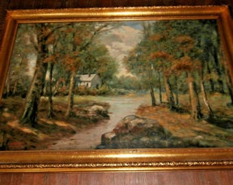 Antique American Impressionist Oil Painting Landscape Deep In The Forest Signed Walter English Original Framed Oil On Canvas Woods