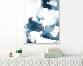 Navy Blue Abstract Art, Storm Clouds Print, Modern Painting, Original Abstract Art, Blue Watercolour, Large Contemporary Wall Art