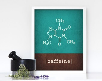 Caffeine print coffee teal print teal coffee poster caffeine molecule caffeine poster teal kitchen print kitchen poster kitchen wall art