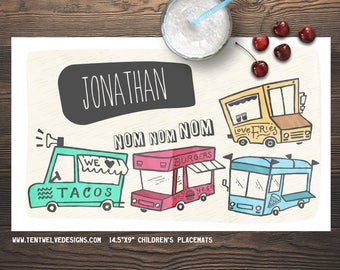 FOOD TRUCKS Personalized Placemat for Kids - Children's Placemat, Personalized Kid's Gift, Fast Shipping - Taco Truck, Colorful, Pizza, Food