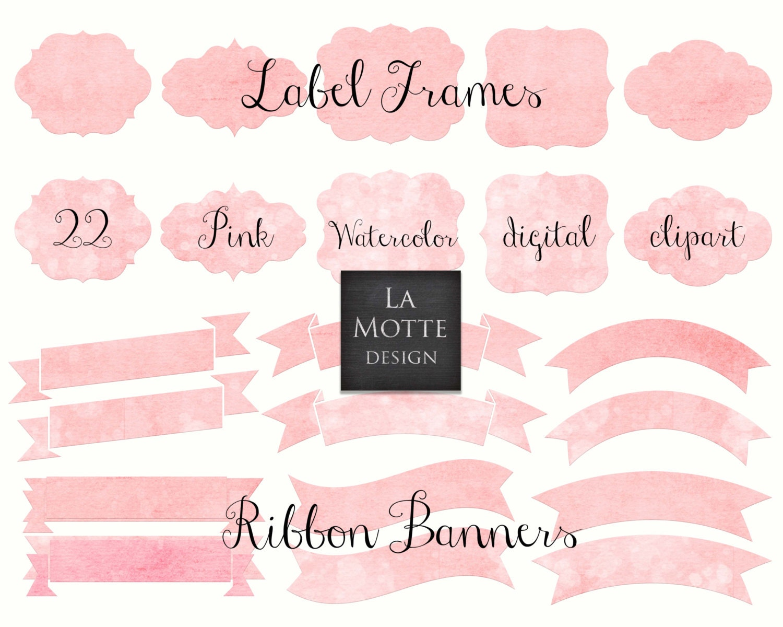 digital pink watercolor frames clipart pink watercolor png
