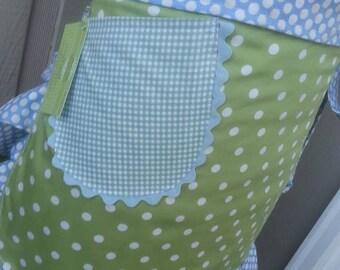 Aprons - Sea Breeze and Mist Apron - Blue and Green Dots - Handmade Aprons - Annies Attic Aprons