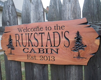 Cabin Signs Personalized Custom Wooden Signs Family Cabin Sign Lake Home Outdoor Name Sign Custom Wood Signs Custom Wooden House Cedar 314