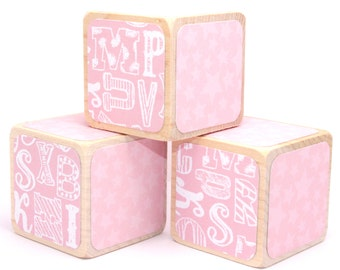 Alphabet Blocks - Baby Blocks - Pink Nursery - Baby Girl - Stars - Personalized Blocks - 2 Inch