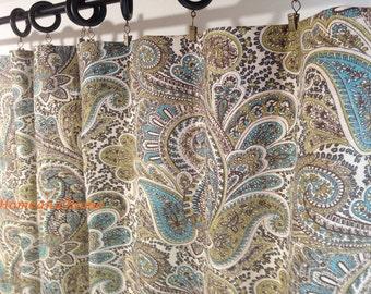 Paisley Curtains Drapery Panels Window Treatment Designer 50W 2 Chocolate Natural Aqua Blue Citrine Brown