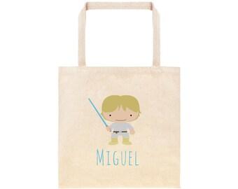Luke Skywalker Star Wars Personalized School Tote Bag // Custom Canvas StarWars Book Bag //  Kindergarten /Preschool Tote