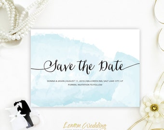 Watercolor Save the Date invitations | Beach wedding save the date cards printed | Cheap save the date cards