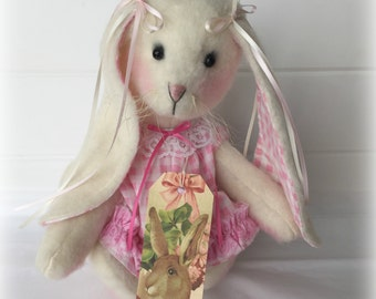 Primitive Plush Bunny | White Easter bunny | bunny decoration | Easter decor | Spring decoration