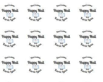 personalized happy mail, happy mail stickers, happy mail, envelope decorations