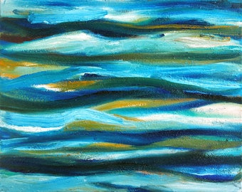 Turquoise abstract oil painting on canvas - original painting, colorful painting, oil on canvas, abstract painting, turquoise painting