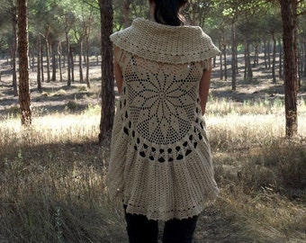 Crochet Circular Vest Pattern PDF Instant Download Mandala Vest Pattern Bohemian Waistcoat Lace Vest Pattern MAIN
