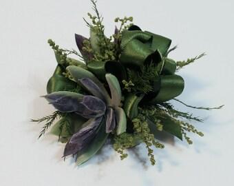 Succulent Wedding Corsage, Prom Corsage, Wrist Corsage, Pin On Corsage, Grey Fake Succulents, Artificial Flowers, Modern Garden Woodland
