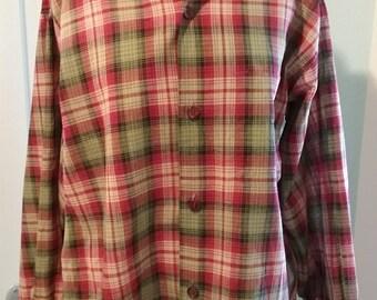 "1950s 50s Mens Twinwear cotton plaid shirt L 16-16 1/2"""