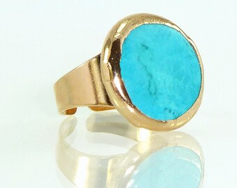 Statement Ring, December Birthstone, Turquoise Ring, Turquoise Jewelry,Gemstone Ring, Gift For Her,Turquoise Gold Ring,simple everyday ring.